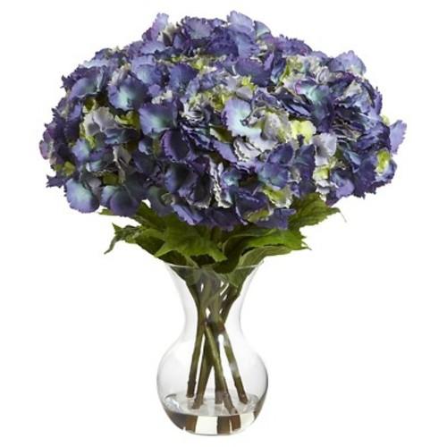Large Hydrangea with Vase Silk Flower Arrangement - Blue