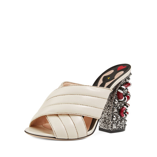GUCCI Webby Quilted Leather Snake-Heel Mule Sandal, Mystic White