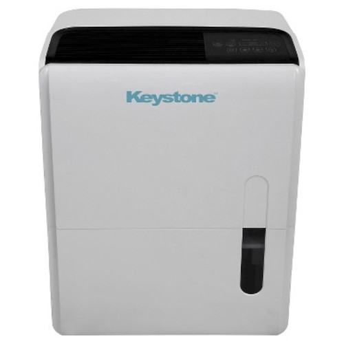 Keystone - Energy Star 95 Pint Dehumidifier with Built-In Pump - Black/White