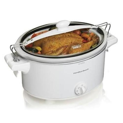 Hamilton Beach 33263 Stay or Go 6 Quart Slow Cooker White Brand New Kitchen Product