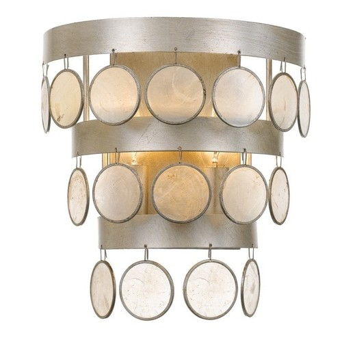 Crystorama Coco Collection 2-light Antique Silver Wall Sconce