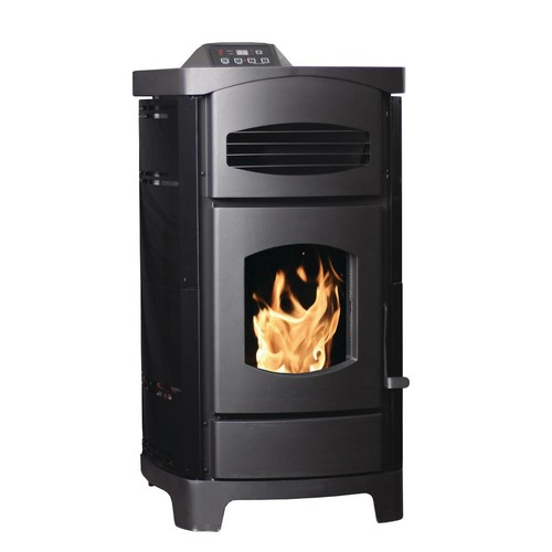 Ashley Hearth Products 2200 sq. ft. EPA Certified Pellet Stove with 40 lb. Hopper and Remote Control in Polished Black Sides