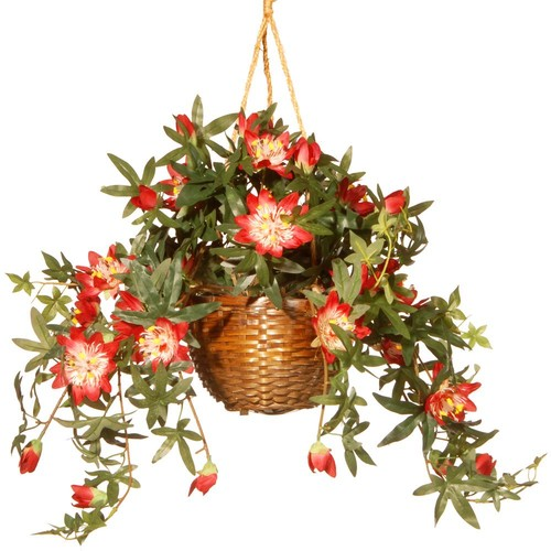 National Tree Company 13 in. Hanging Flower in Pot