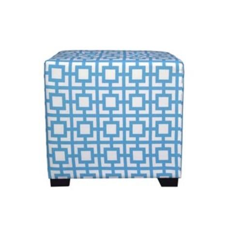 MJLFurniture Merton Gigi Square 4-Button Upholstered Ottoman; Blue/White