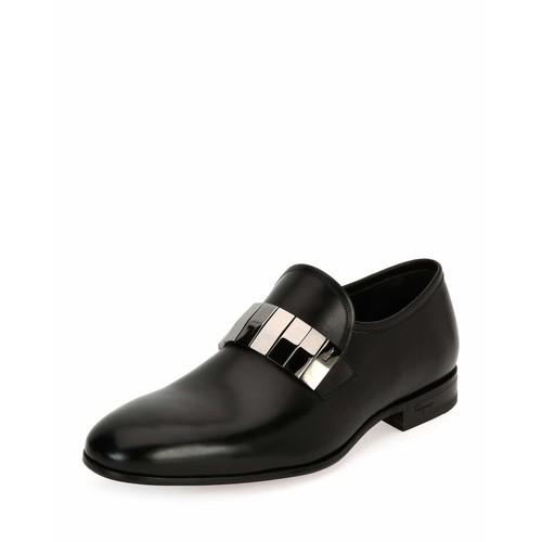 SALVATORE FERRAGAMO Drake Broken-Mirror Leather Formal Loafer, Black