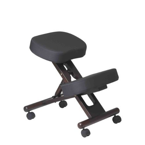 Office Star Ergonomically Designed Knee Chair with Casters, Memory Foam and Espresso Finished Wood Base, Black [Espresso Wood Base]