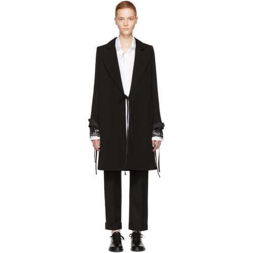 ANN DEMEULEMEESTER Black Wool Side-Tie Coat
