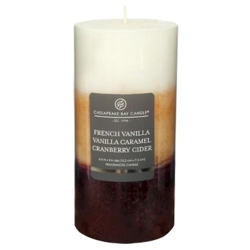 Layered Pillar Candle Vanilla/Caramel/Cranberry Cider 6