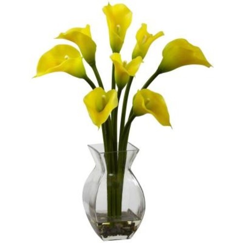 Nearly Natural Classic Calla Lily Arrangement in Yellow