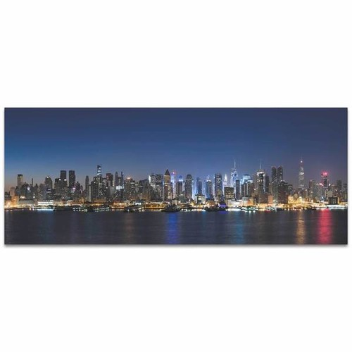 Modern Crowd 'New York Harbor City Skyline' Urban Cityscape Enhanced Photo Print on Metal or Acrylic [option : Metal Gicle (Matte Finish)]