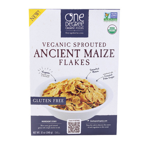 One Degree Organic Foods Veganic Sprouted Ancient Maize Flakes -- 12 oz