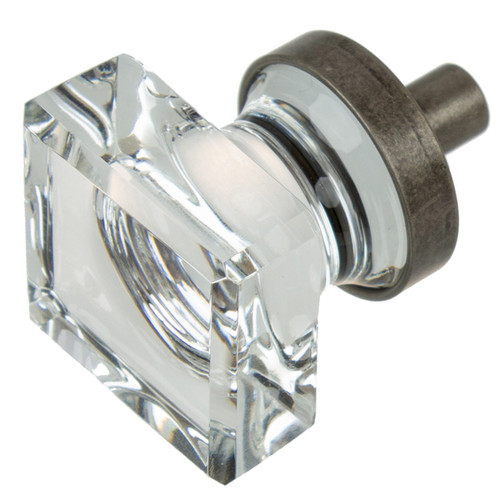 GlideRite 1-inch Aged Pewter Square Glass Cabinet Knobs (Pack of 10 or 25) [option : Aged Pewter - Pack of 10]