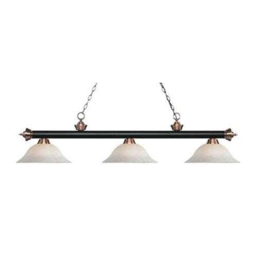 Filament Design May 3-Light Matte Black and Antique Copper Island Light with White Mottle Glass Shades