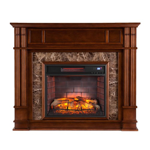 Southern Enterprises Rochester 48 in. Faux Stone Infrared Media Electric Fireplace TV Stand in Whiskey Maple