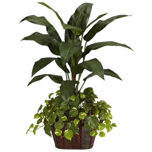 Nearly Natural 4 Ft. Bird of Paradise w/Vase and Pothos Silk Plant Green 6637