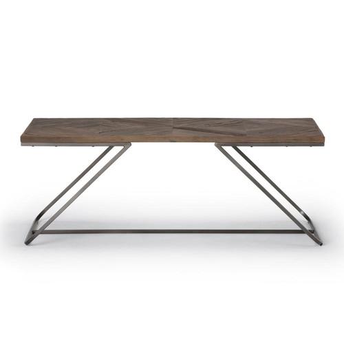 Simpli Home Hailey Distressed Java Brown Wood Inlay Coffee Table