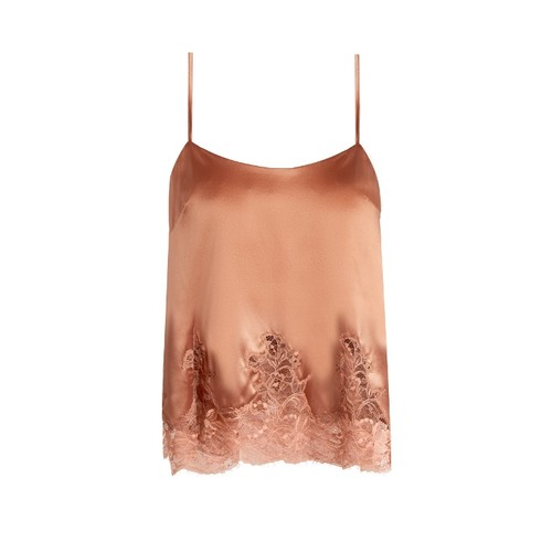 Whiskey lace-hem silk-blend cami top