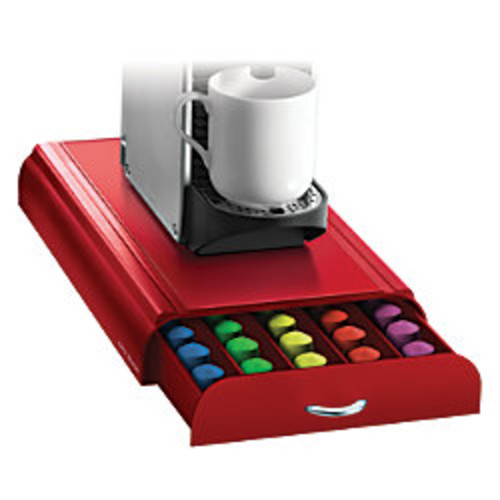 Mind Reader Nespresso Coffee Capsule Drawer, 50-Pod Capacity, Red