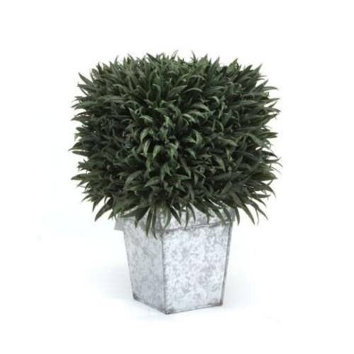 Dalmarko Designs Grass Square Topiary in Metal Planter