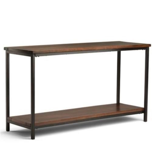Simpli Home Skyler 54-Inch Console Sofa Table in Dark Cognac Brown