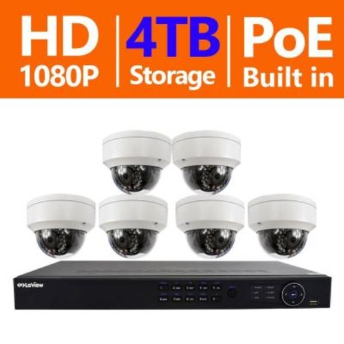 LaView 8-Channel Full HD IP Indoor/Outdoor Surveillance 4TB NVR System (6) Dome 1080p Cameras PoE Ready Motion Recording