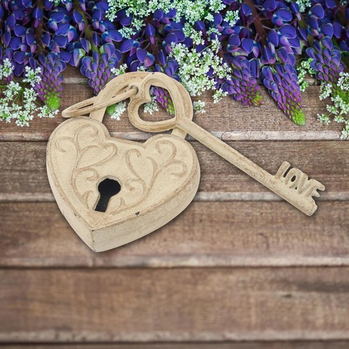 Stonebriar Collection 4 in. x 6 in. White with Gold Cast Iron Heart Shaped Lock and Love Key