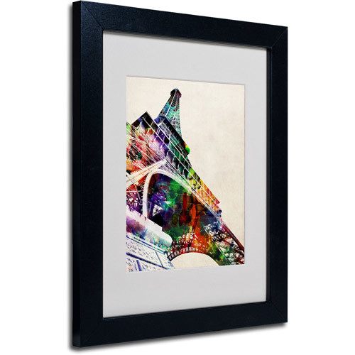 Eiffel Tower Framed Matted Art by Michael Tompsett, 11 by 14 Inch, Black Frame [11 by 14 Inch]