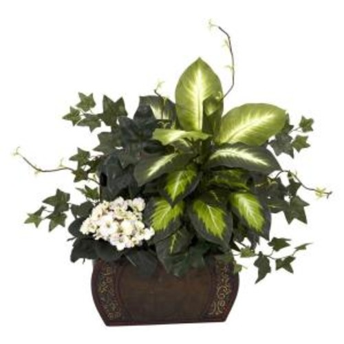 Nearly Natural 20 in. H Green African Violet, Dieffenbachia and Ivy with Chest Silk Plant