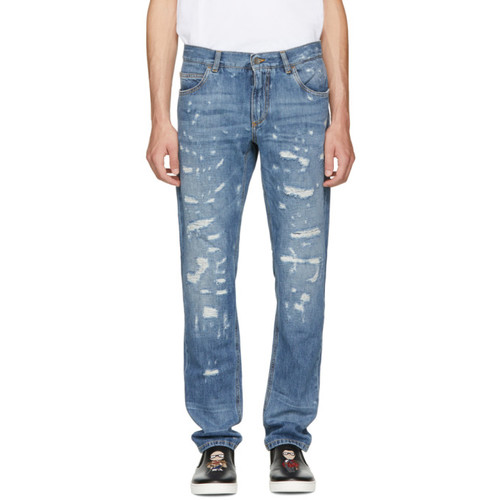DOLCE & GABBANA Blue Classic Distressed Jeans