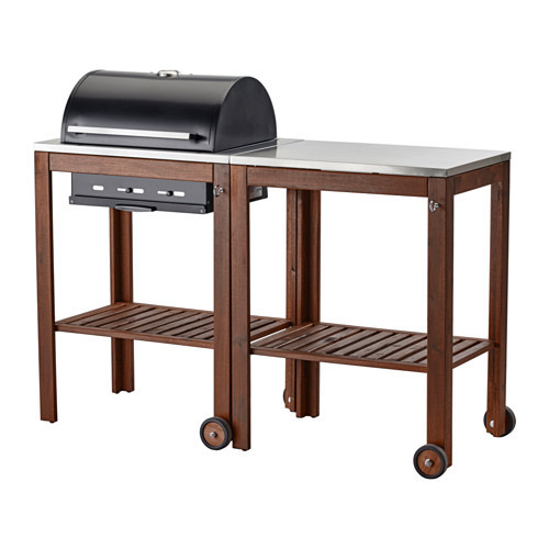 PPLAR / KLASEN Charcoal grill with cart, brown stained, stainless steel