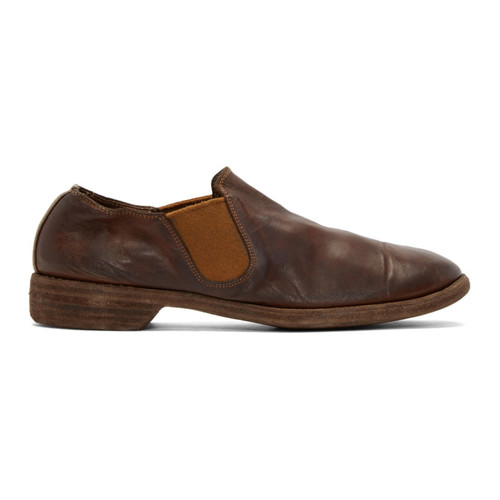 Brown Leather Distressed Loafers