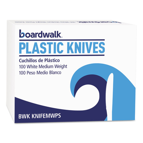 BWKKNIFEMWPSBX Boardwalk Mediumweight Polystyrene Cutlery, Knife, White, 100/Box