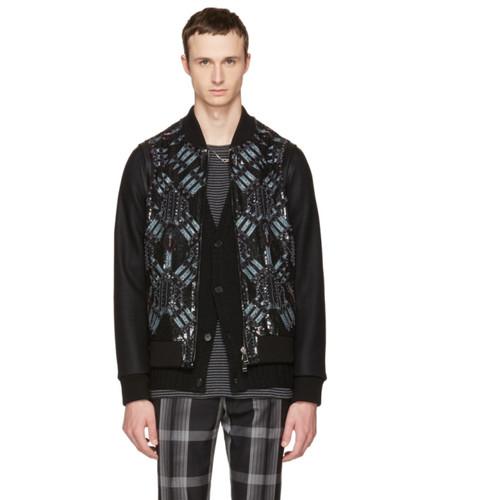 VALENTINO Black Embroidered Sequin Love Blade Bomber Jacket