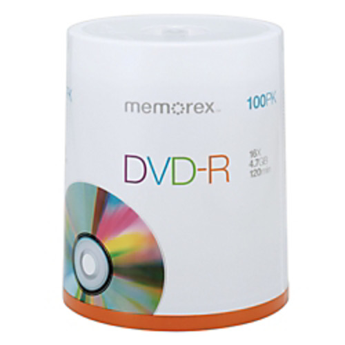 Memorex DVD-R Recordable Media Spindle, 4.7GB/120 Minutes, Pack Of 100