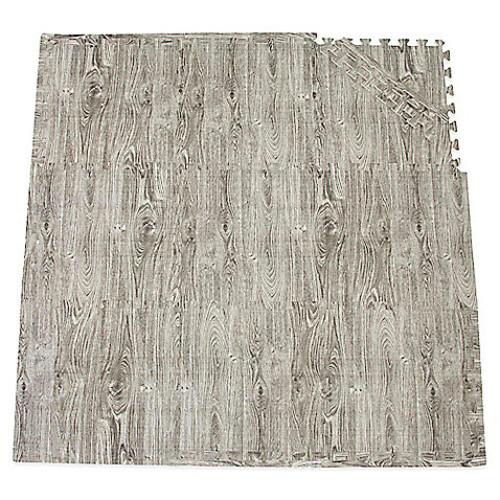Tadpoles by Sleeping Partners 9-Piece Play Mat Set in Wood Grain Black/White