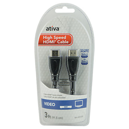 Ativa 3' High-Speed HDMI Cable, Black