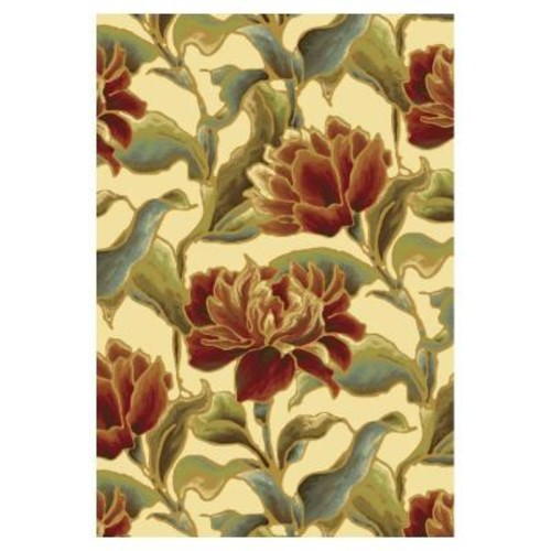 Kas Rugs Spacious Florals Ivory 2 ft. 2 in. x 3 ft. 7 in. Area Rug