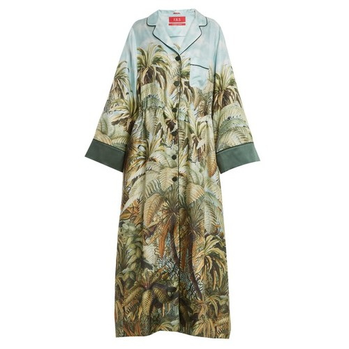 Oneiroi palm-tree print silk-twill robe