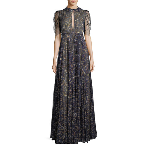 VALENTINO Floral-Print Silk Keyhole Gown