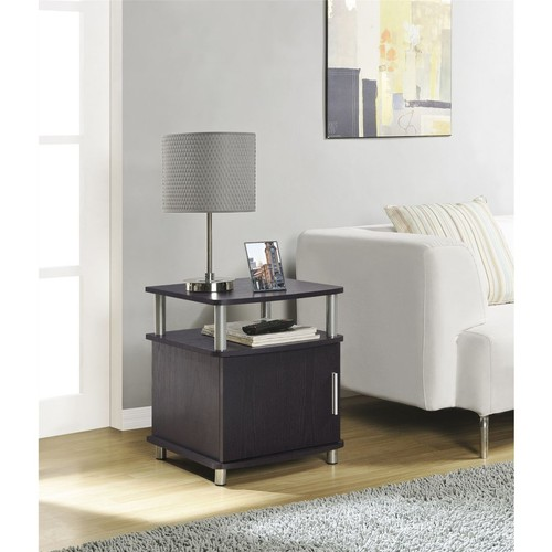 Altra Furniture Carson End Table with Storage, Espresso Finish, ESPRESSO