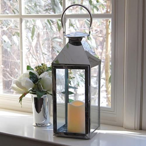 LumaBase 2-piece Chrome Lantern & LED Candle Set