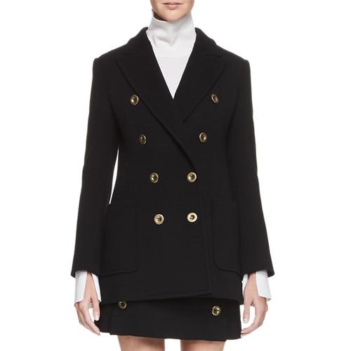 CHLOE Double-Breasted Wool Blazer, Black