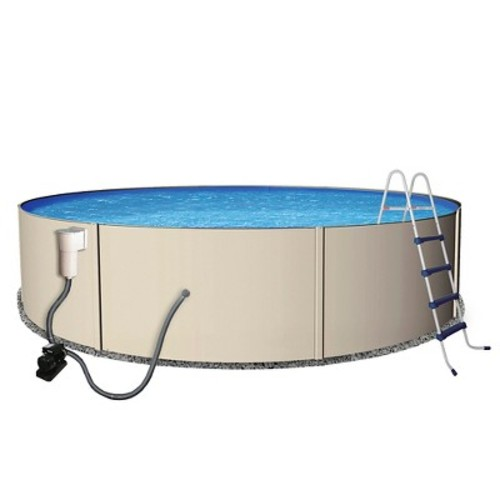Blue Wave Rugged Steel 24 ft. Round 52 in. Deep Metal Wall Swimming Pool Package