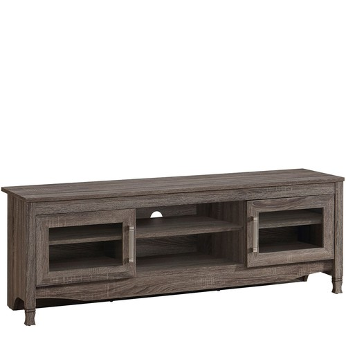 Techni Mobili Grey Driftwood TV Stand with Storage Cabinets