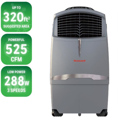 Honeywell 525 CFM 4-Speed Indoor/Outdoor Portable Evaporative Cooler with Remote Control for 320 sq. ft.