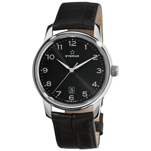 Eterna Men's 'Soleure' Black Dial Black Leather Strap Automatic Watch
