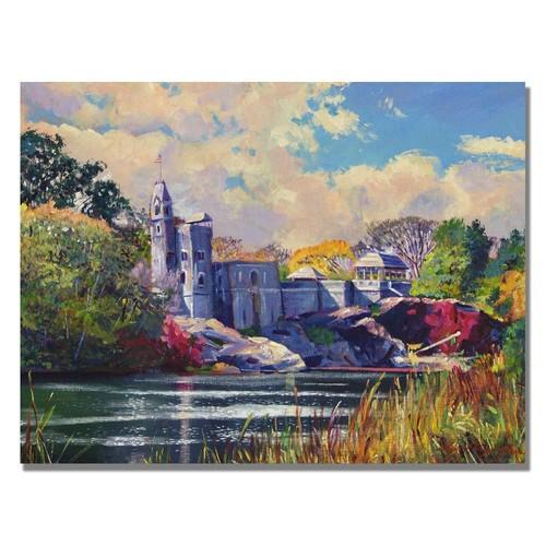 Trademark Fine Art Belvedere Castle Central Park by David Lloyd Glover Canvas Wall Art, 24x32-Inch
