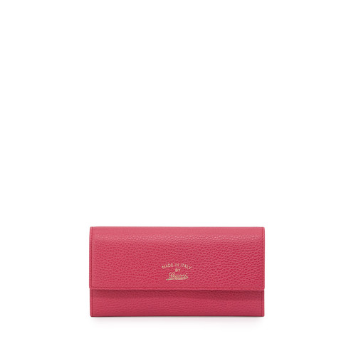 GUCCI Swing Leather Continental Wallet, Fuchsia