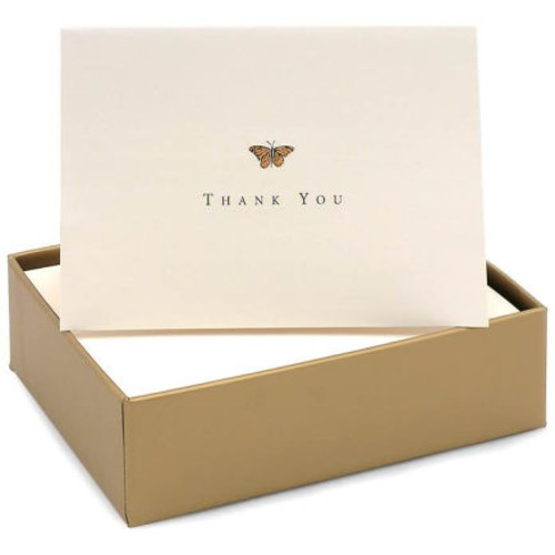 Gold Butterfly Foil Embossed Thank You Card Set