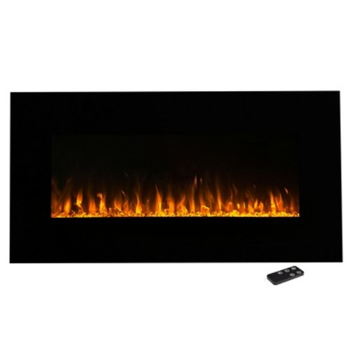 Electric Fireplace Wall Mounted, LED Fire and Ice Flame, With Remote 36 inch by Northwest [Black, 36 -Inch]